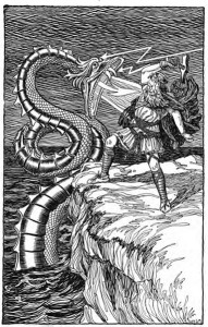 Thor Fighting the Serpent public domain