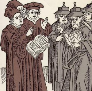 Jews and Christians disputing scripture (the Jews are wearing the poiny hats) in a 15th c. Dutch woodcut.