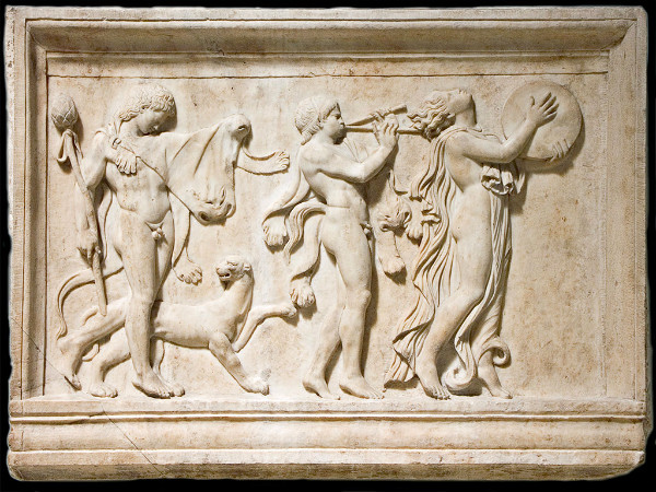 Marble relief of a maenad and two satyrs in a Dionysiac procession.