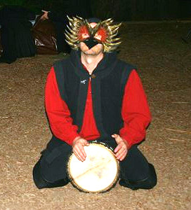 Gwion, a drum and a Raven's mask