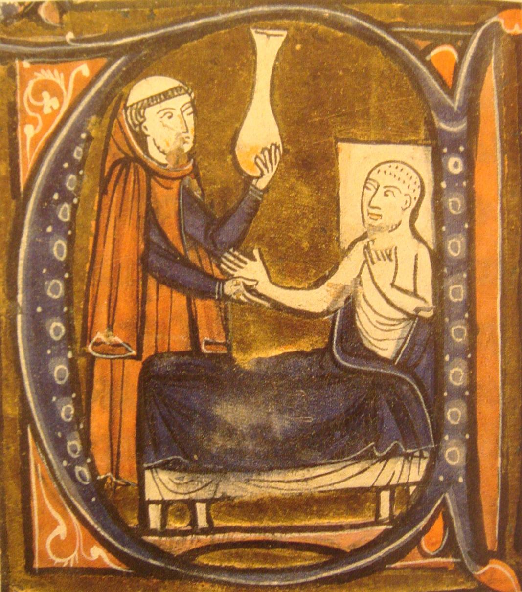 "European depiction of the Persian (Iranian) doctor Al-Razi, in Gerardus Cremonensis ""Recueil des traités de médecine"" 1250-1260. A surgeon (left) holds the matula, a vessel for collecting the urine."