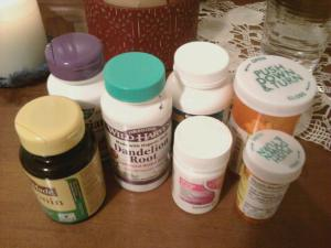 Both natural and pharmaceutical pills I took daily to sustain my hyperemesis pregnancy.