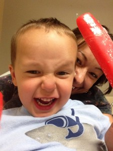 Liam and I having a popsicle party in the emergency room.