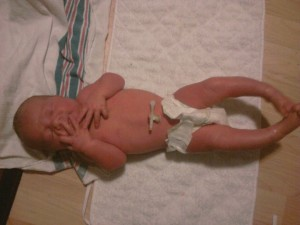 "Jude Bennett Carnahan was 8lbs 11oz and 21"". He was born at home at 41 weeks. This is Jude several hours after birth."