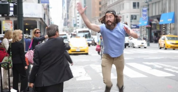 man-high-fiving-people-hail-cab