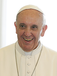 Pope Francis smiles during meeting with Switzerland's President Maurer at Vatican