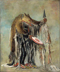 "George Caitlin, ""Medicine Man, Performing His Mysteries over a Dying Man (Blackfoot/Siksika)"". Image courtesy Wikimedia Commons."