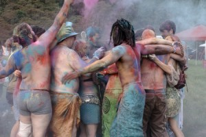 Holi at Starwood. (Note this has been cropped and blurred to remove identifiable faces -- please be careful about sharing photos of people at Pagan events.)
