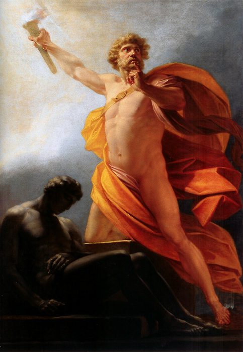 "Heinrich Fueger, ""Prometheus Brings Fire To Mankind"". Public domain via Wikimedia commons"