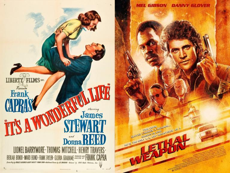 movie posters for It's a Wonderful Life and Lethal Weapon
