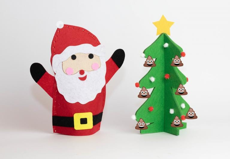 Christmas tree with poop emoji ornaments