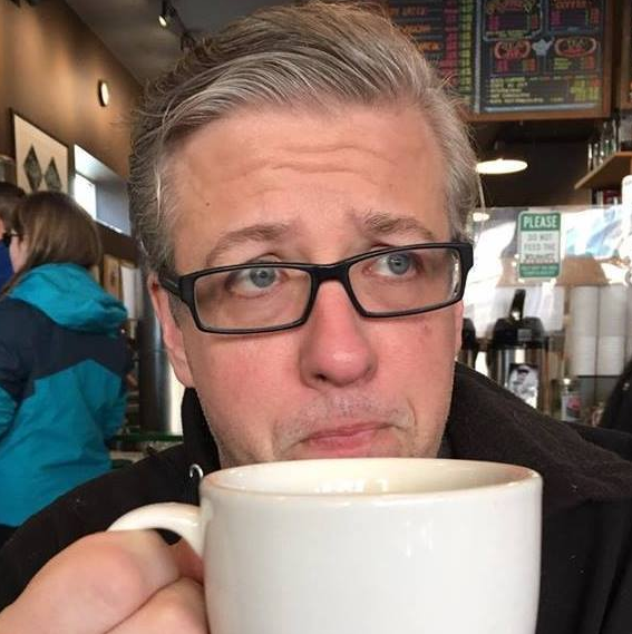 Andy drinking coffee