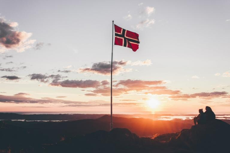 The flag of Norway sands proud.