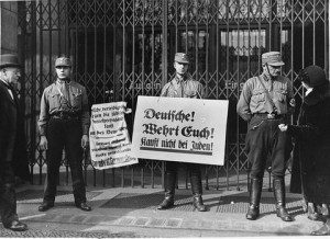 Nazis organise boycotts of Jewish owned shops in Berlin 1933
