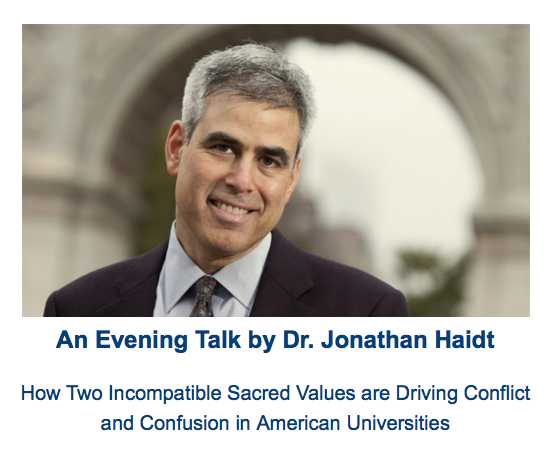 Jonathan Haidt talk at SUNY New Paltz