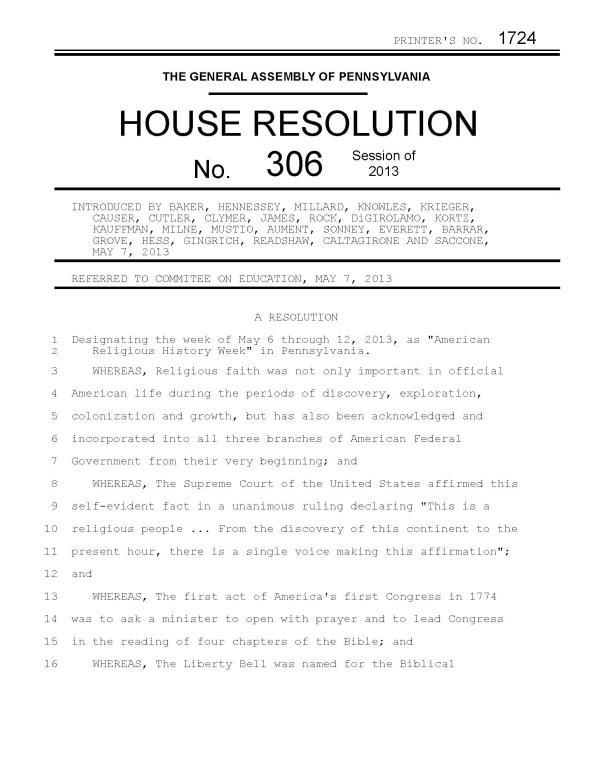 The first page of a bad bill.