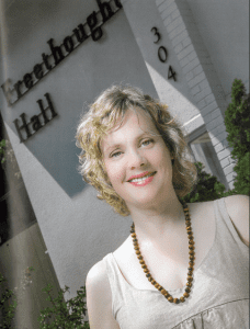 Annie Laurie Gaylor outside the recently renovated Freethought Hall, home of FFRF. Photo by Chris Johnson