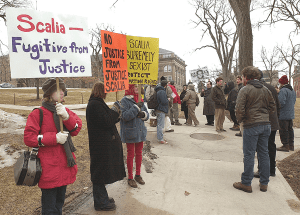 Annie Laurie Gaylor and FFRF staff protesting Scalia.  Photo by FFRF
