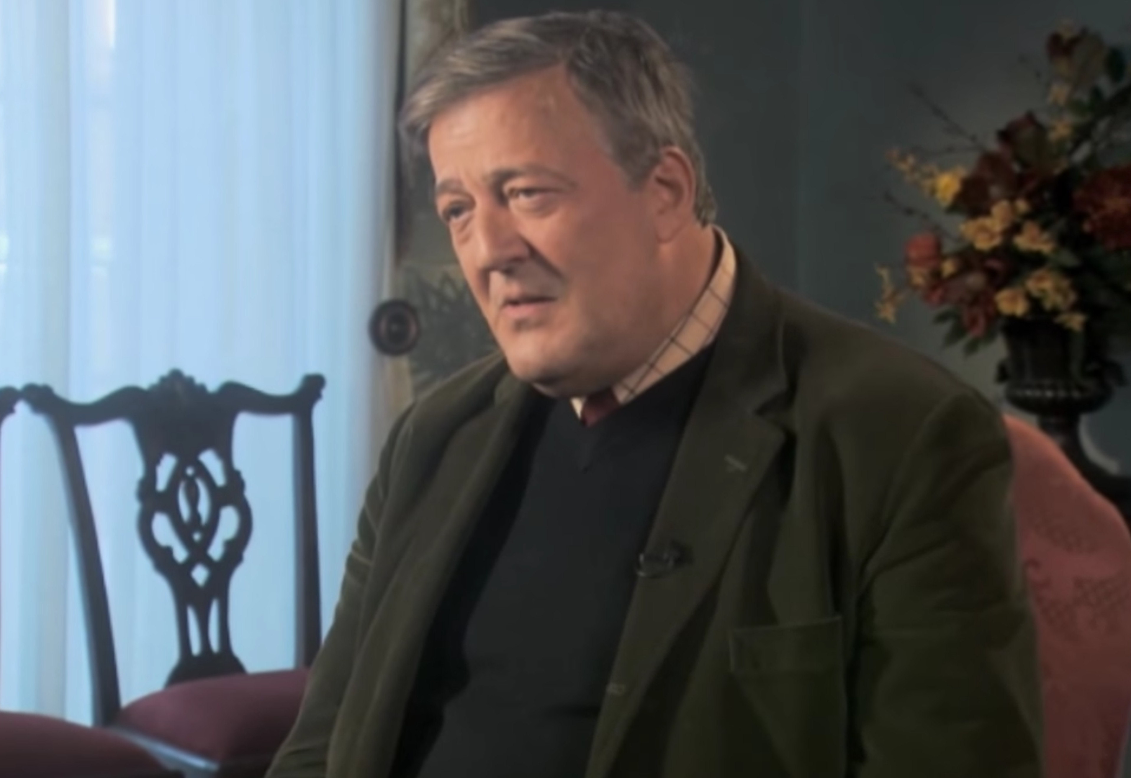 Stephen Fry during the interview in question. Screenshot via YouTube.