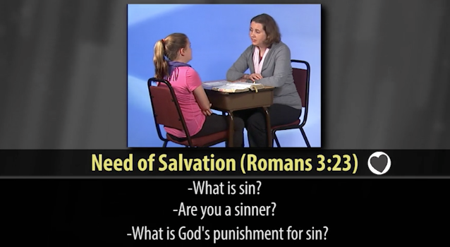 A screenshot from one of the CEF training videos. Your'e a sinner and you're going to hell, unless....