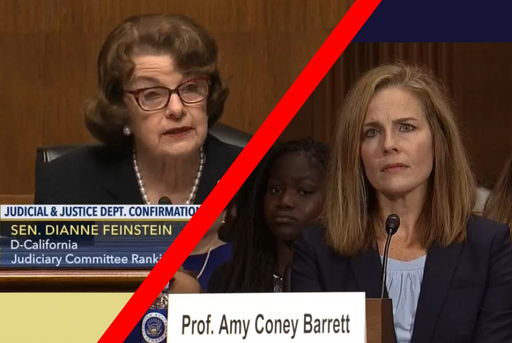Feinstein and a perplexed Barrett during the latter's confirmation hearing before the Senate Judiciary Committee. Screenshots via C-SPAN 3.