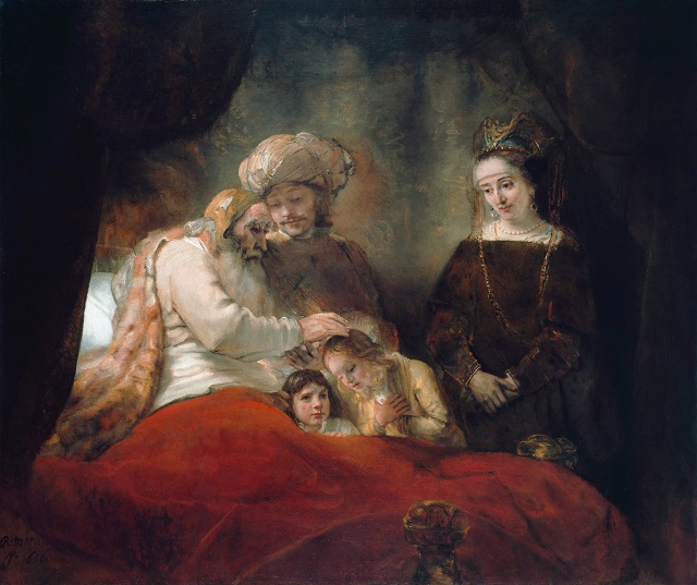 Jacob Blessing Ephraim and Manasseh *oil on canvas *173 x 209 cm *signed b.l.: Rembran[dt] / f. 1656