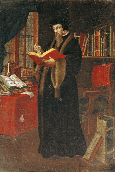 XIR80412 Portrait of John Calvin (1509-64), French theologian and reformer (oil on canvas) by French School, (16th century); Societe de l'Histoire du Protestantisme francais, Paris; Giraudon; French,  out of copyright