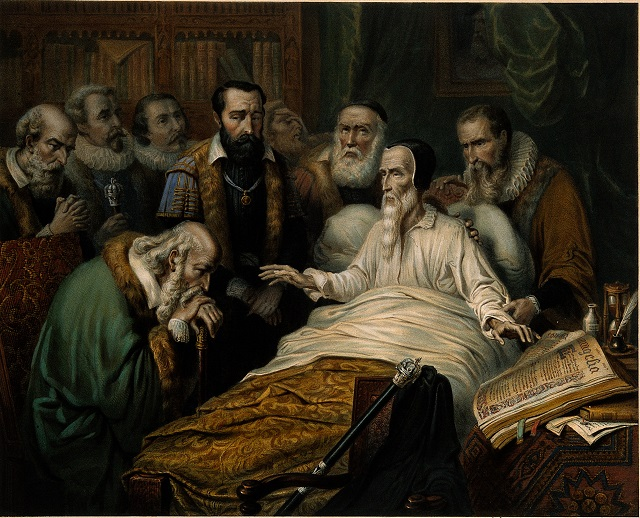 V0006910 John Calvin on his deathbed, with members of the Church in a Credit: Wellcome Library, London. Wellcome Images images@wellcome.ac.uk http://wellcomeimages.org John Calvin on his deathbed, with members of the Church in attendance. Protestant reformer in Geneva. Lithograph by W.L. Walton after Oakley, c.1865. 1865 Published: - Copyrighted work available under Creative Commons Attribution only licence CC BY 4.0 http://creativecommons.org/licenses/by/4.0/