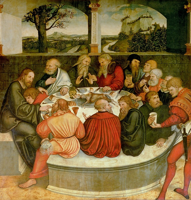 XPH328355 Triptych, left panel, Philipp Melanchthon performs a baptism assisted by Martin Luther; centre panel, the Last Supper with Luther amongst the Apostles; right panel, Luther makes his confession; Luther's sermon below, 1547 (detail of 51406) by Cranach, Lucas, the Elder (1472-1553); Church of St.Marien, Wittenberg, Germany; (add.info.: Luther, Martin (1483-1546): religious and biblical scenes: predella;); German, out of copyright