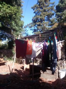 our cool solar and wind powered laundry drying system. For extra bonus points it provides plenty of opportunities for stretching exercises while operating.