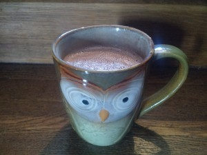 """When I talk about hot chocolate """"from scratch"""", I mean from whole cacao beans. My partner is an experienced chocolate maker. And I have an owl mug. So yeah."""