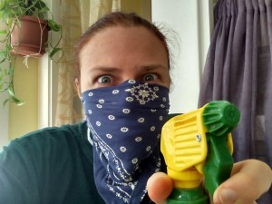 Cleaning the room first. Unfortunately there was one incidence where that required protective gear. I will spear you the details.