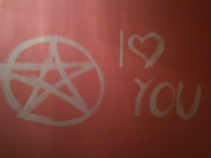 Banishing and affirmations can go hand in hand. I scribbled a love note to a housemate who walked in while I was practicing paintbrush banishing magic.
