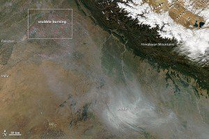 Aerial view of the smog in Delhi