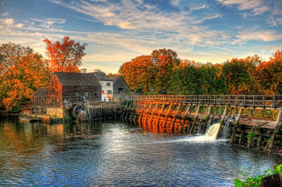 Sleepy Hollow waterfront with autumn foliage