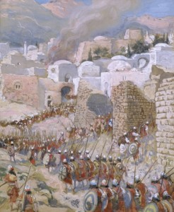Jericho's walls fell inward. There's a lesson in that.Tissot, The Taking of Jericho from Wikipedia Commons
