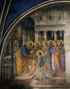 Fresco of the anointing of the seven deacons, by Fra Angelico, from the Vatican's Niccoline Chapel [public domain]