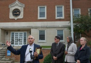 Coalition partners from ACLU-MD, CAIR, IAHR, and JVP-DC hold press conference on 10/22/16 outside Carroll County Executive Office Building calling on Board of County Commissioners to repudiate Commissioner Rothschilds Islamophobic editorial.
