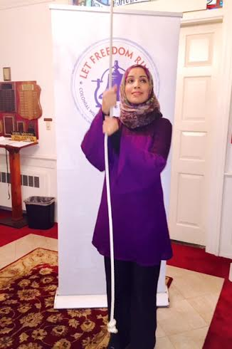 Zainab Chaudry ringing the bell for freedom.
