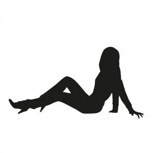 Pretty slim woman sitting on the ground. vector silhouette