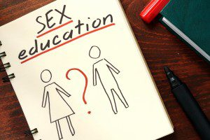 Words written sex education in the notepad.