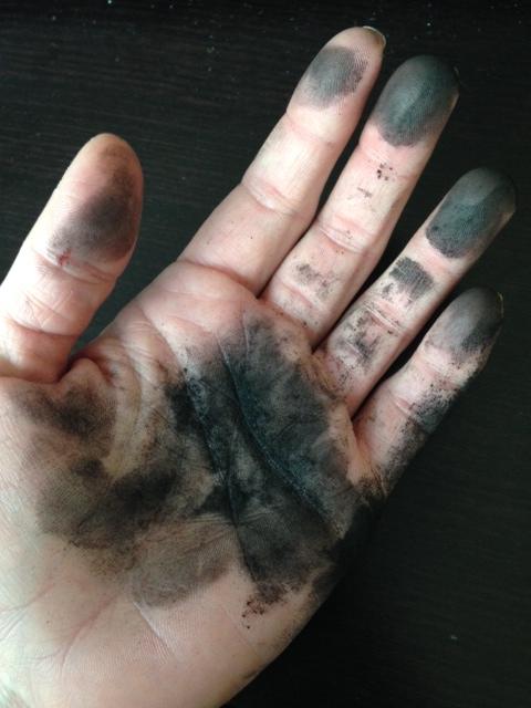 smudged hand