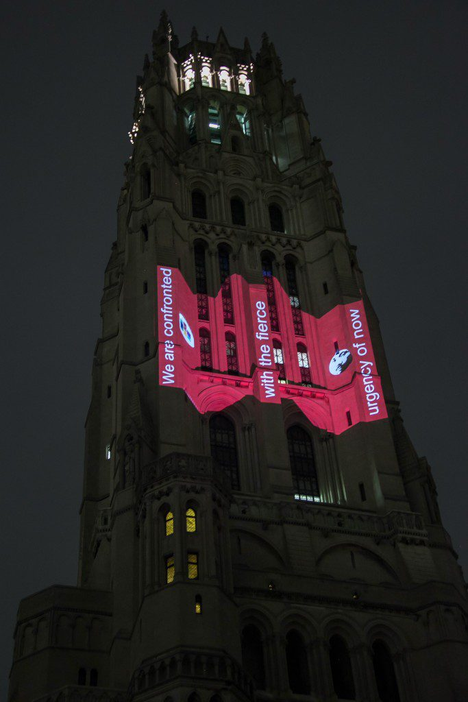 Lighted messages on the tower of The Riverside Church mark the 50th anniversary of the key address Rev. Martin Luther King Jr. gave at the church. (Photo/Alison Schopmeyer)