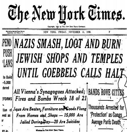Pentecost 26 Kritallnacht  Ny Times Nov 11, 1938