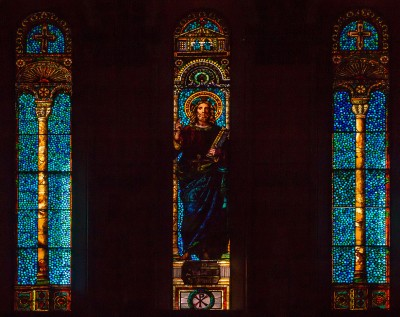 REplace 80 John La Farge window, Christ in Majesty, Trinity Church Boston.  Image, Boston College Library La Farge page