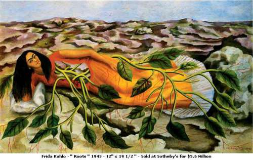 REplace 82 Frida Kahlo  Roots 1943  Image from Mexican Art website