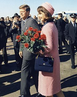 Replace 77 Kennedys_arrive_at_Dallas 1961  Wikipedia page for Pink Suit of Jacqueline Kennedy