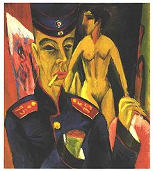 Replace 78 Kirchner.  Self-Portrati as a Soldier 1915  wikipediap age for the portrait