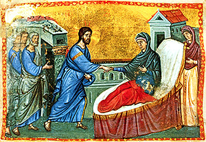 Epiphany 6  Icon Jesus Healing Peter's mother in law