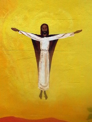 Ascension - Mural of Christ ascending to heaven on a graffiti wall in Bristol, England. 2003